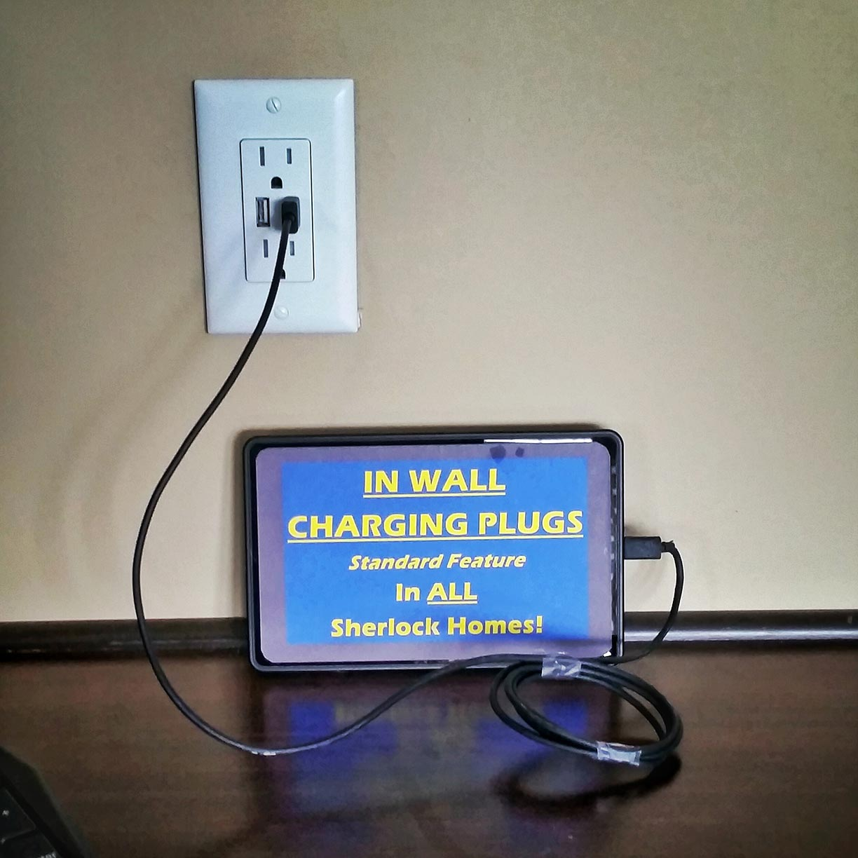 In Wall USB Charging Outlet Standard. Eliminating the charging cord clutter on your counter.
